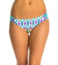 NEW Kenneth Cole Printed Side Tab Bikini Bottom Aqua Women's Swimsuit, Medium