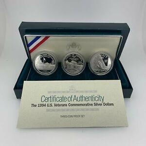 1994 US Veterans Three Coin Silver Dollar Proof Set w/Box & COA - Free Ship US