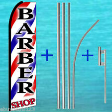 (3) 15' TALL BARBER SHOP SWOOPER FLAG KITS Flutter Feather Advertising Banner