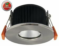 6W LED Fire Rated Recessed Ceiling Downlight Spotlight Brushed Chrome 3000K  A+