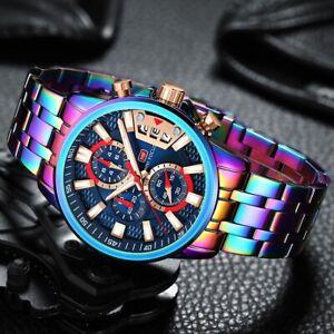 Luxury Business Waterproof Chronograph Luminous Quartz Rainbow Sport WristWatch