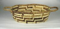 Coil Basket Hand Woven Grass Brown Tan Size 16.5 inches Coiled 2 Handles Decor