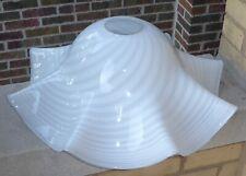 White Gray Stripe Swirl Ruffle Flare Bell Glass Light Pendant Fixture Lamp Shade