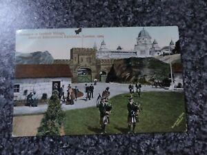SCOTTISH VILLAGE, IMPERIAL INTERNATIONAL EXHIBITION 1909 POSTCARD + POSTMARK