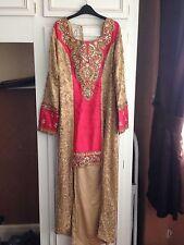 Corail & NUDE asiatique robe de taille robe 10/12 Eid/mariage/fête/Diwali