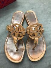 3249d5bae7cc9 TORY BURCH Miller Royal Tan Sand Beige Saffiano Patent Leather Sandal Sz  8.5 L27