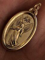 "Solid 14k Gold Guardian Angel Cherub Medallion Pendant Charm 0.5x0.75"" Italy"