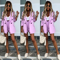 ❤️ 2PCS Womens Long Sleeve Blazer Shorts Suit Ladies OL Office Button Jacket Set