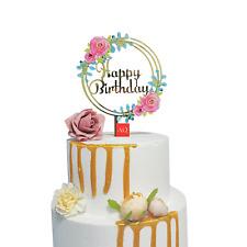 Reusable Gold Mirror Acrylic 'Happy Birthday' Floral Wreath Cake Topper Decor UK