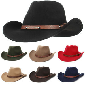Women Men Cowboy Hat Western Style Fedora Sun Hat Cowgirl Riding Wide Brim Cap