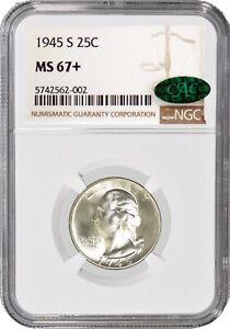 1945 S 25C Silver Washington Quarter NGC MS67+ CAC Gem Uncirculated Coin