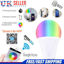 UK B22 Smart Bulb Wireless WiFi App Remote Control Light for Alexa Google Home