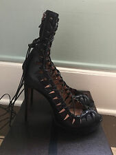 Alaia Chaussure Karung Noir Lace Up Heels 41 $2,450