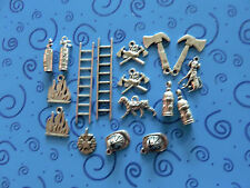 17 SP Fire Fighter Charms:Helmets Extinguishers Hydrants Flames Ladders Hatchets