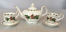 Petite Tea Pot And Two Cups Saucers A Cellectible Set Fine Bone China 1996