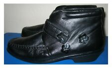 PAVERS BLACK LEATHER ANKLE BOOTS WITH STRAP WITH WEDGE HEEL SIZE 8 UK 41 EU NWOB