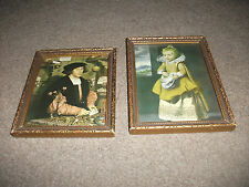 LOVELY PAIR OF ANTIQUE MATCHING FRAMES PRINTS YOUNG GIRL IN PERIOD DRESS + MAN
