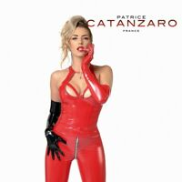 Patrice Catanzaro - Grace - Top bustier sexy court en vinyle brillant rouge