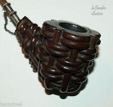 fabuleuse grosse  pipe d'art populaire en bois sculpté - façon panier tressé