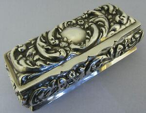 Antique Edwardian Solid Sterling Silver Six Slot Ring Box Bir 1902