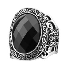 Size 10 Vintage Roman Pattern Ring Black Resin Silver Plated Friendship Rings
