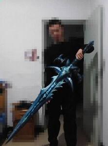 "WLK WOW Lich King Frostmourne Sword Paper Model Kit  Lifesize 1:1 Scale 1.2m=47"""