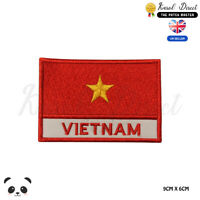 VIETNAM National Flag With Name Embroidered Iron On Sew On Patch Badge