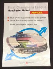 Man Utd Advice Sheet 1999 Champions League Final Street Map Treble Season