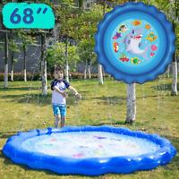 "Sprinkler & Splash Play Mat 68"" Outdoor Water Toys for Kids Toddlers Splash Pad"