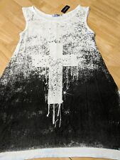 """BLACKHEART """"EASEL"""" LADIES LONG BABY-DOLL STYLE TANK WITH CROSS (SIZE: SMALL)"""