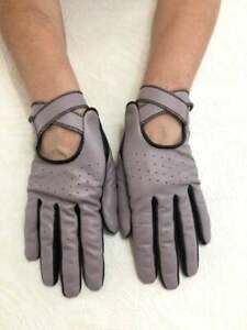 Women's Driving Dusty Purple and Black Genuine Leather Gloves with Buttons