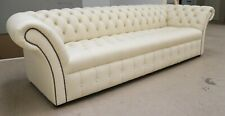 MODERN HANDMADE CREAM LEATHER CHESTERFIELD TUFTED BUTTONED 4 SEATER SOFA