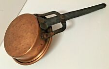 Antique Rustic Hand-Forged Hand Wrought Iron-Handled COPPER PAN Rolled Edge