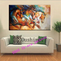 CHOP227 large hand-painted modern oil painting decor art on canvas:3horses