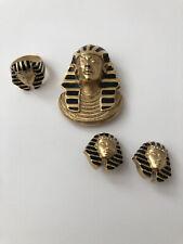 - Pin/Pendant Clip Earrings Ring Sz 8 Vtg Signed Erwin Pearl King Tut Parure Set