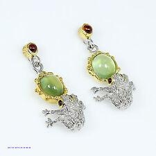 FineArt Handmade Natural Prehnite 925 Sterling Silver Butterfly Earrings
