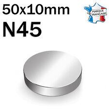 SUPER AIMANT MAGNET NEODYM DISQUE N45 - 50x10mm - 125Kg