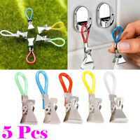 5-20Pcs Hand Towel Clips Hanging Pegs Clip On Hooks Loop Multifunction Durable