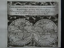 1743 Atlas SANSON  World map  MAPPEMONDE - GLOBE TERRESTRE - California Island