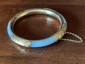 14K Gold HK Lavender Jade Bangle Bracelet - Estate Beautiful