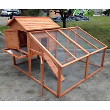 """74"""" Large Wood Chicken Coop Backyard Hen House 3-6 Chickens with nesting box Run"""