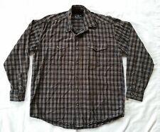 Roper Mens Long Sleeve Button Down Western Shirt Size Medium Black / Brown Plaid