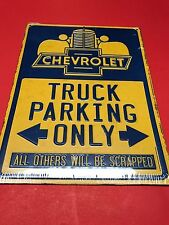 "Metal Embossed Blue/Yellow  ""CHEVROLET TRUCK PARKING ONLY"" Sign 12"" X 9"""