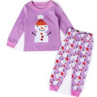 2PCS Kid Boy Girl Xmas Pyjamas Reindeer Santa Snowman Sleepwear Dress Top + Pant