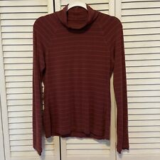 Athleta Workout Running Shirt Turtleneck Striped Red Long Sleeve Top Women Small