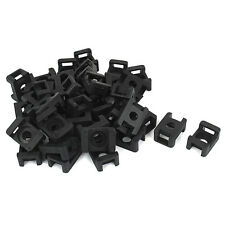 Plastic Wire Cable Zip Tie Screw Fixing Mount Base Holder 40pcs Black J1D5