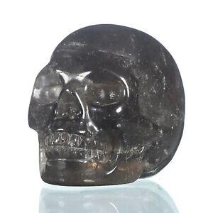 "1.57""Natural  Smoky Quartz Crystal Carved Skull Metaphysic Healing Power #33M82"