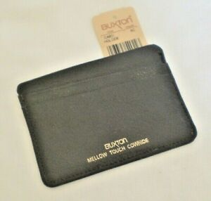 """Buxton ID CASE business credit card holder  4"""" x 2.75"""" leather Dark Brown NEW"""