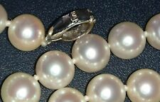 Akoya aurora white long hanadama knotted pearl necklace gold K18 JAPAN 8mm $8000