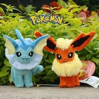 "Lot 2 Pcs Pokemon Go Plush Toy Vaporeon & Flareon 6.5"" Cool Stuffed Animal Doll"